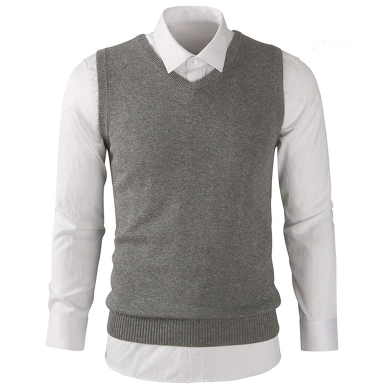 Robert Reyna Fashion Mens Sleeveless V-Neck Sweater Vest Cotton Casual Mens Knit Vest Mens Slim Clothing Tops