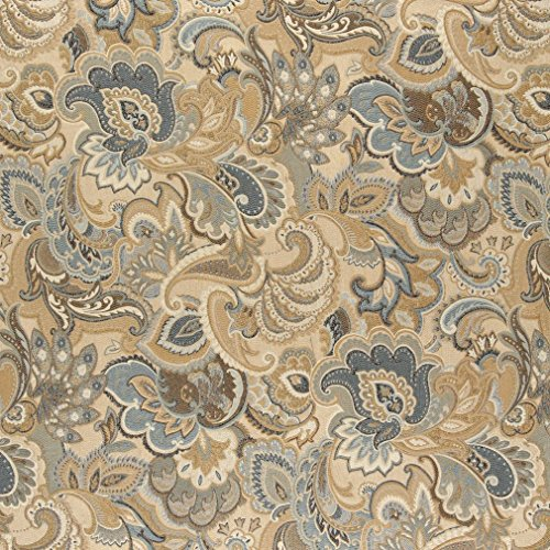 A0025A Gold Blue and Green Abstract Paisley Upholstery Fabric by The Yard