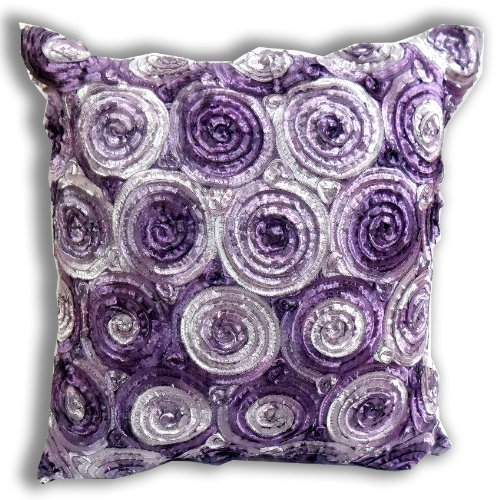 ''ENJOY SMILE ''(Single) Two Tone 3d Bouquet of Purple Roses Throw Cushion Cover/pillow Sham Handmade By Satin and Thai Silk for Decorative Sofa, Car and Living Room Size 16 X 16 Inches by THAI SILK