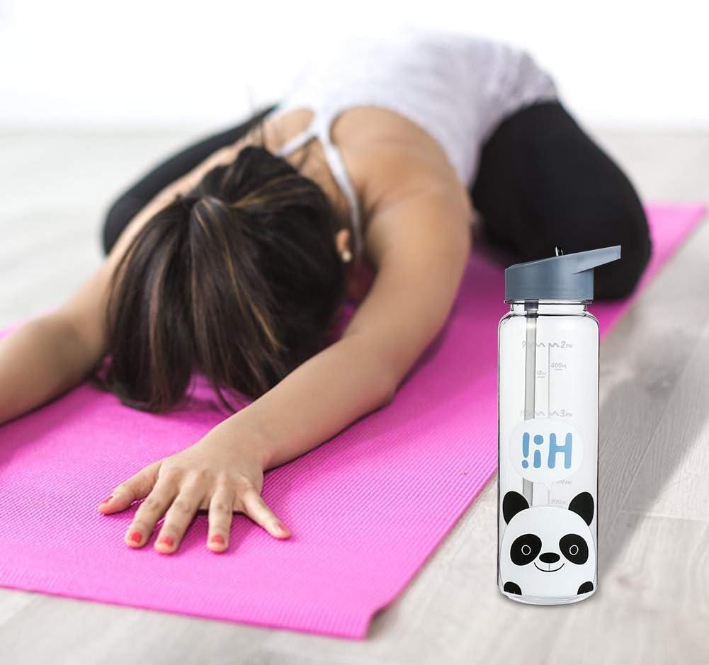 sin BPA a prueba de fugas para cyling senderismo Panda Botella de agua con marcador de tiempo de 720 ml de la marca Olyee para ni/ños