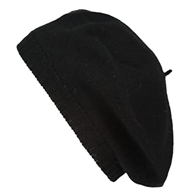 72a24bbe78168 Pure Cashmere Beret - Made in Scotland (Black) at Amazon Women s ...