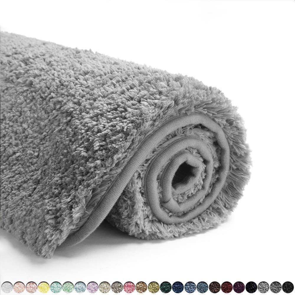 Suchtale Bathroom Rug Non Slip Bath Mat for Bathroom (16 x 24, Grey) Water Absorbent Soft Microfiber Shaggy Bathroom Mat Machine Washable Bath Rug for Bathroom Thick Plush Rugs for Shower