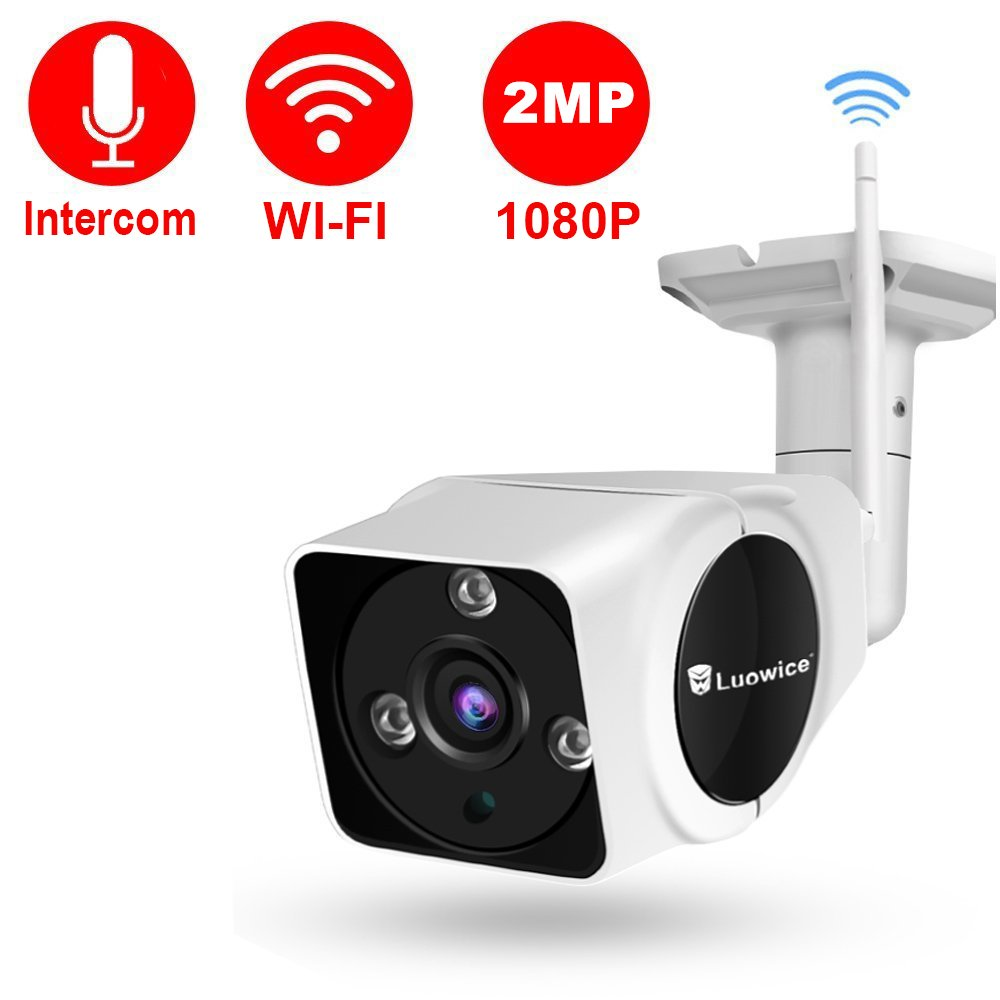Luowice 1080P WiFi Camera Outdoor Wireless Security Camera with Intercom Function 2MP IP Camera 50ft Night Vision and Built-in 32G SD Card IP66 Waterproof