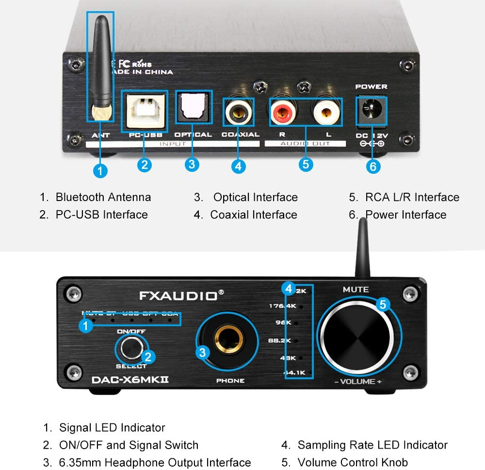 DAC-X6MKII DAC Converter Optical Coaxial PC-USB Bluetooth Input to RCA 6.35mm Headphone Amplifier FX AUDIO 192kHz Digital to Analog Audio Converter with Bluetooth 5.0 Receiver Black