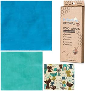 B-Earthie Beeswax Food Wraps- 3 Pack Reusable, Sustainable, Eco-Friendly, Premium Quality, Plastic-Alternative Food Wraps| 1 Large, 1 Medium, 1 Small plus 1 Replenishing Beeswax Bar