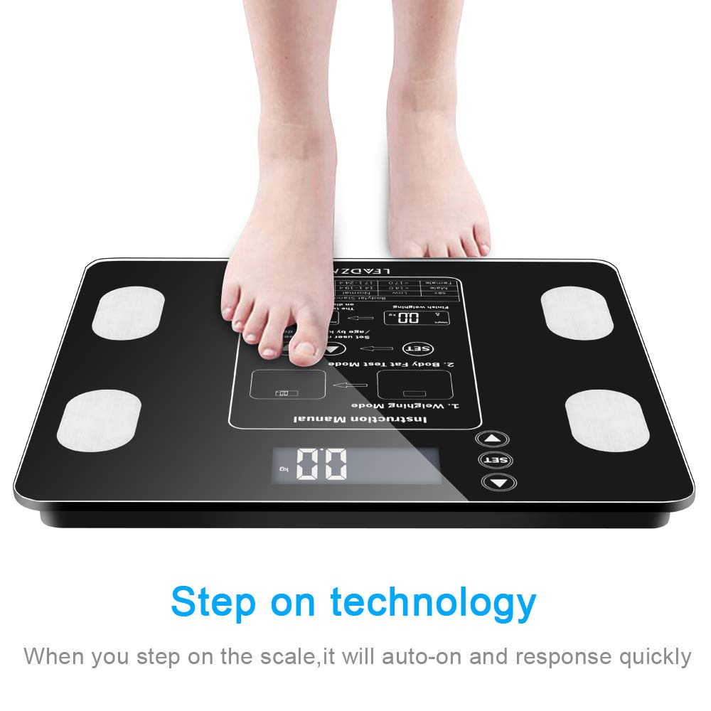 Digital Body Fat Scale Health Analyser Body Composition Monitor with LCD Screen Display, 400 lb Weight Capacity
