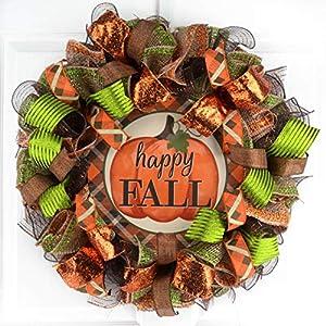 Happy Fall Wreath | Pumpkin Thanksgiving Deco Mesh Front Door Wreath; Brown Orange Burlap Green 27