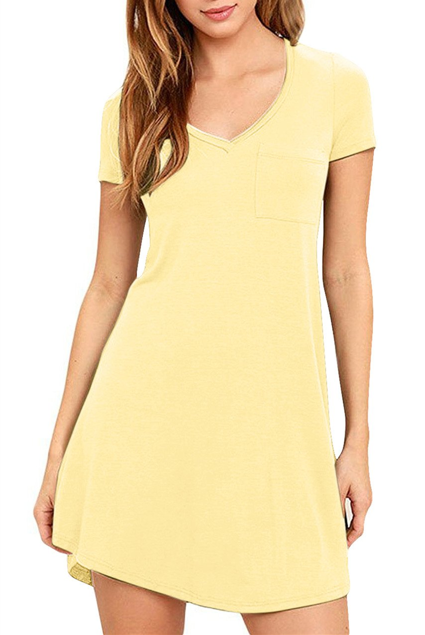 Eanklosco Womens Casual Short Sleeve Plain Pocket V Neck T Shirt Tunic Dress (Yellow, L)