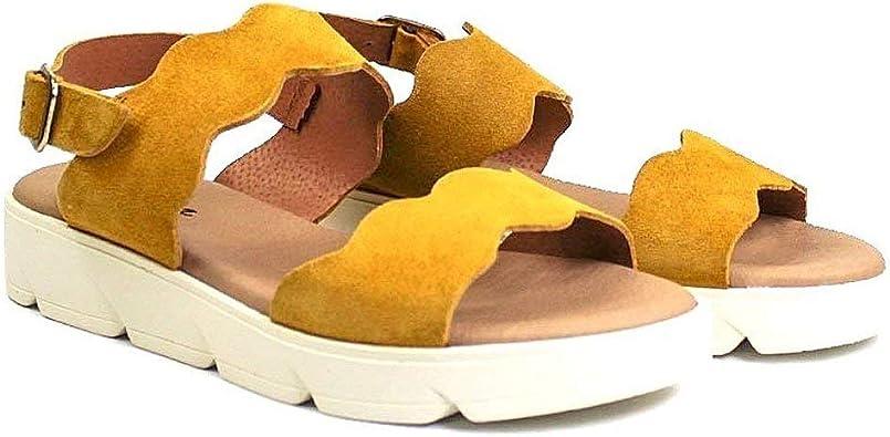 Julia - Sandalias Planas de Piel para Mujer con Piso Grueso Olas en Zig-Zag - Hebilla - Suela Flexible Antideslizante - Plantilla Acolchada - Forro de Piel - Hechos en España: Amazon.es: Zapatos y complementos