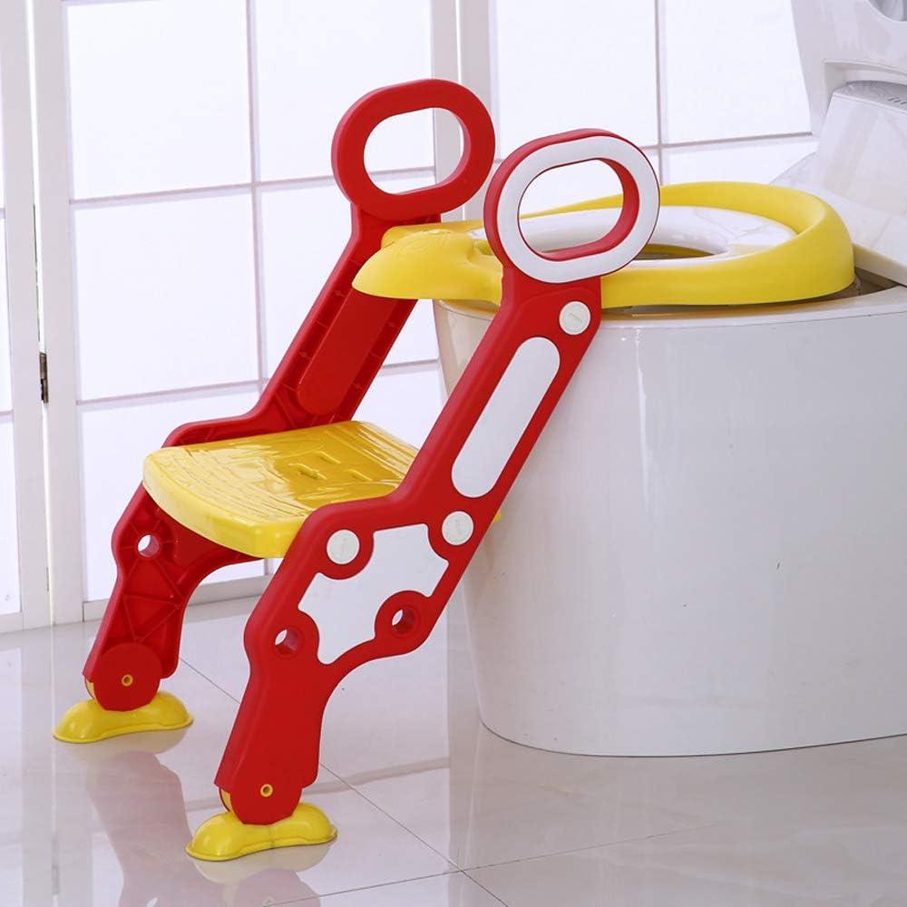 Rouge-Jaune Vinteky Si/ège de Toilette Enfant Pliable et R/églable Reducteur de Toilette B/éb/é avec Marches Larges Lunette de Toilette Confortable Mat/ériaux de Haute Qualit/é pour Enfants 1 /à 7 ans