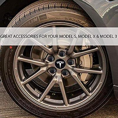 Luckily Wheel Center Hub Caps for Tesla Model 3, S & X Set Aero,Set of Tesla Logo Wheel Caps +Center Hub Nut Cap Lug Nut Cover(White): Automotive