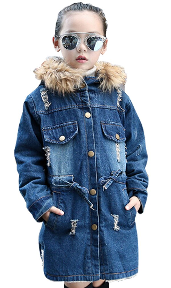 LUKYCILD Warm Jeans Coat Faux Fur Collar Thick Outwear