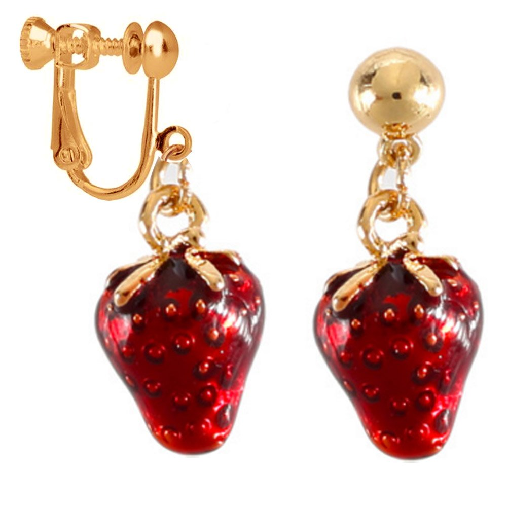 Strawberry Clip on Dangle Earring Clip for non Pierced Gold Plated Ears Fashion Handmade