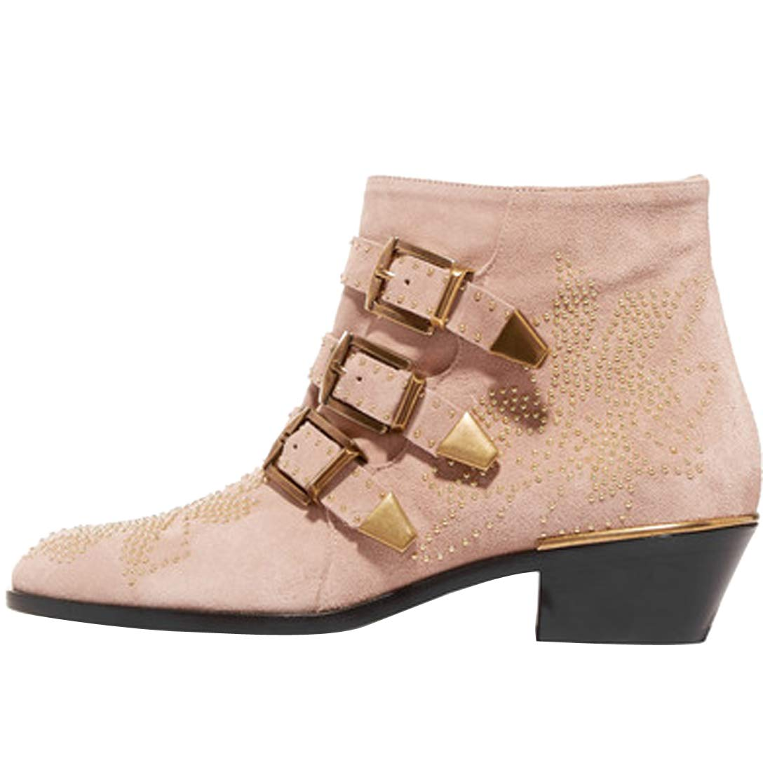 Comfity Boots for Women,Women's Leather Boot Rivets Studded Shoes Metal Buckle Low Heels Ankle Boots