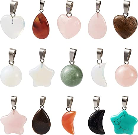 30Pcs Natural Crystal Stone Chakra  Reiki Healing Gemstone Moon Pendant Necklace