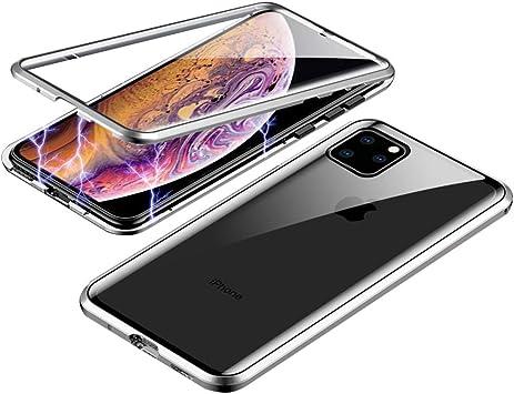 Orgstyle Funda para iPhone 11, Absorción Magnética Cubierta Vidrio Frontal y Posterior Case Marco Metal Súper Delgada Protección de 360 Grados Caso para iPhone 11, Plata: Amazon.es: Electrónica