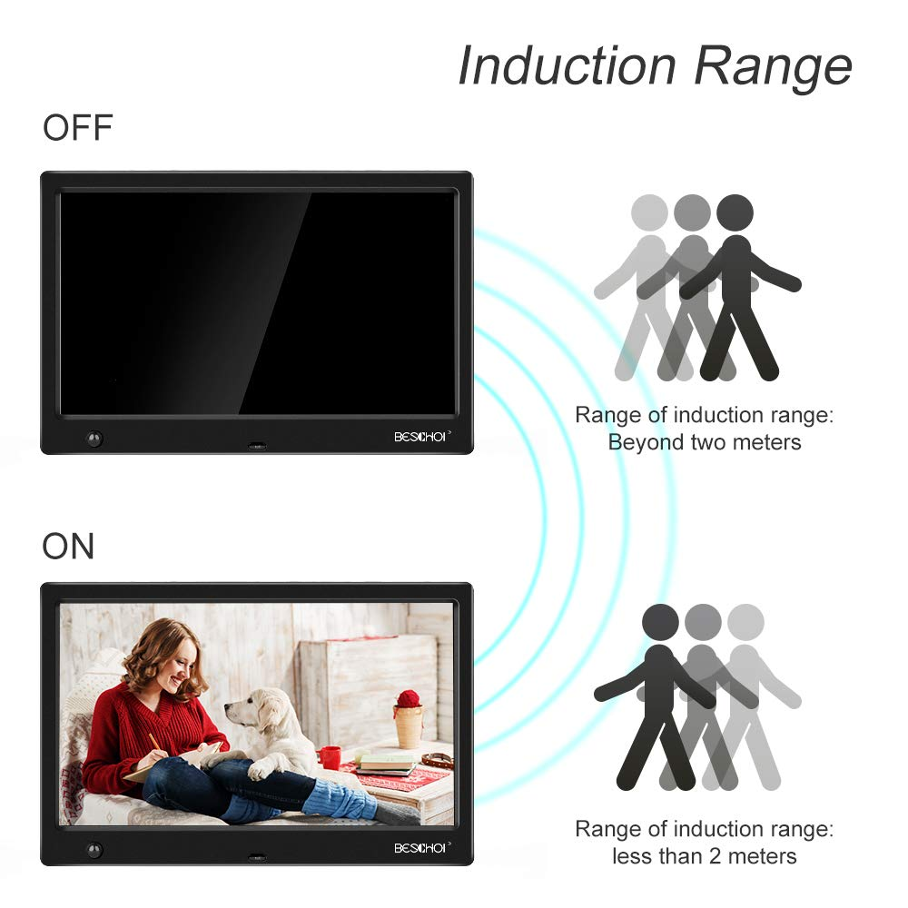 Beschoi Marco Digital para Fotos y Vídeos 10 Pulgadas Pantalla LCD, Marco de Fotos Digital HD con Sensor Movimiento Soporte Reproductor Vídeo MP3 MP4 Reloj ...