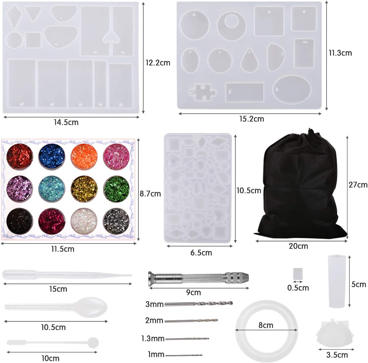 LIHAO 94 PCS Resin Casting Molds and Tools Set DIY Jewelry Mold Assorted Styles Silicone Molds for Pendant Jewelry Making DIY Jewelry Craft