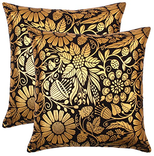 Bath Bed Decor Pack of 2 Accent Decorative Throw Pillow Covers Cushion Cases Cushion Covers Pillowcases in Cotton Canvas with Hidden Zipper Slip Covers for Couch Sofa Bed (18 x 18 Inches; Gold Black) ()