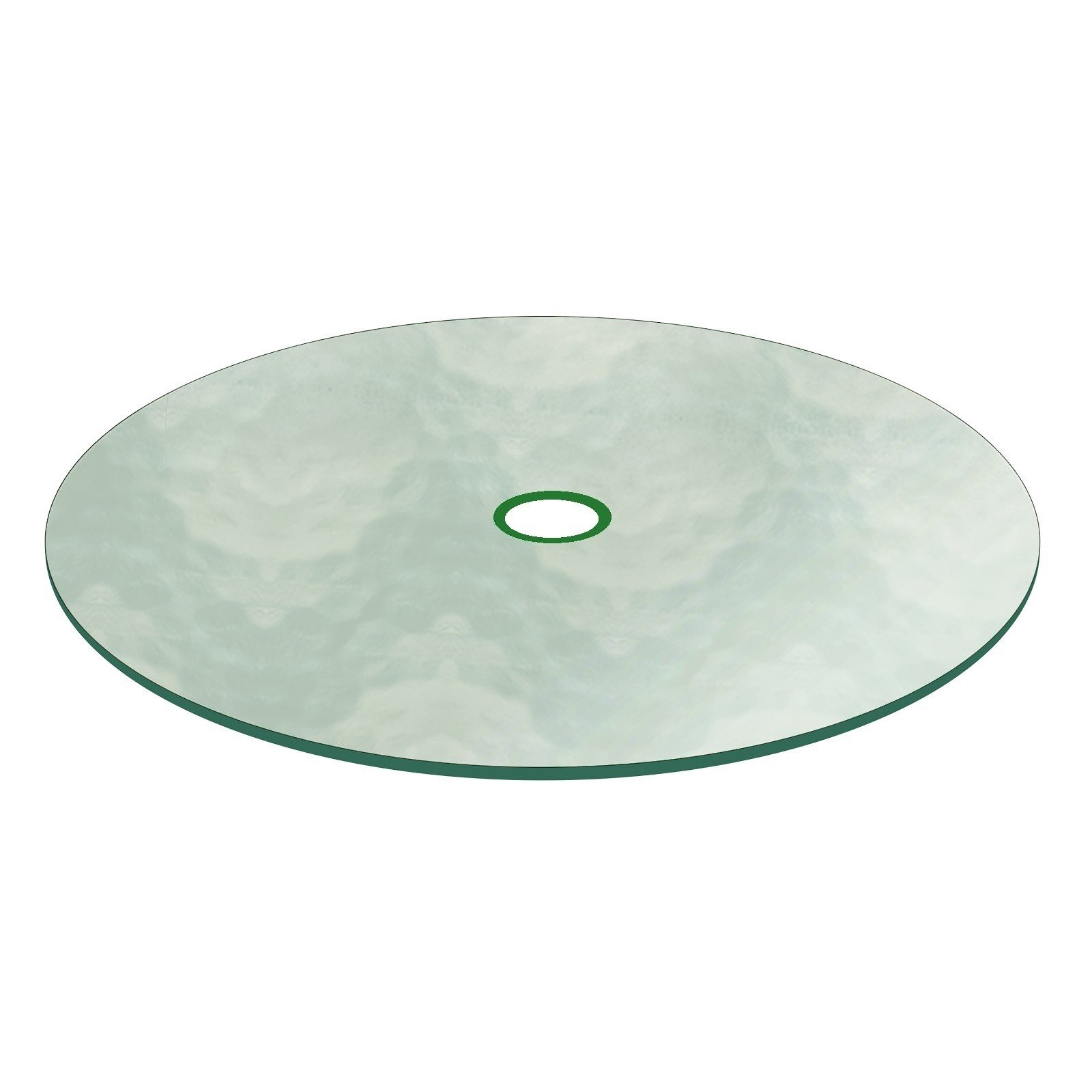 Aquatex Patio Glass Table Top 48'' Round 3/16'' Thick Flat Tempered w/ 2-1/4'' Hole by Fab Glass and Mirror