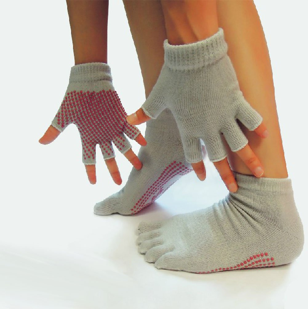 Gray Yoga Pilates Half Toe Socks and Gloves With Grips Slip Resistant Set