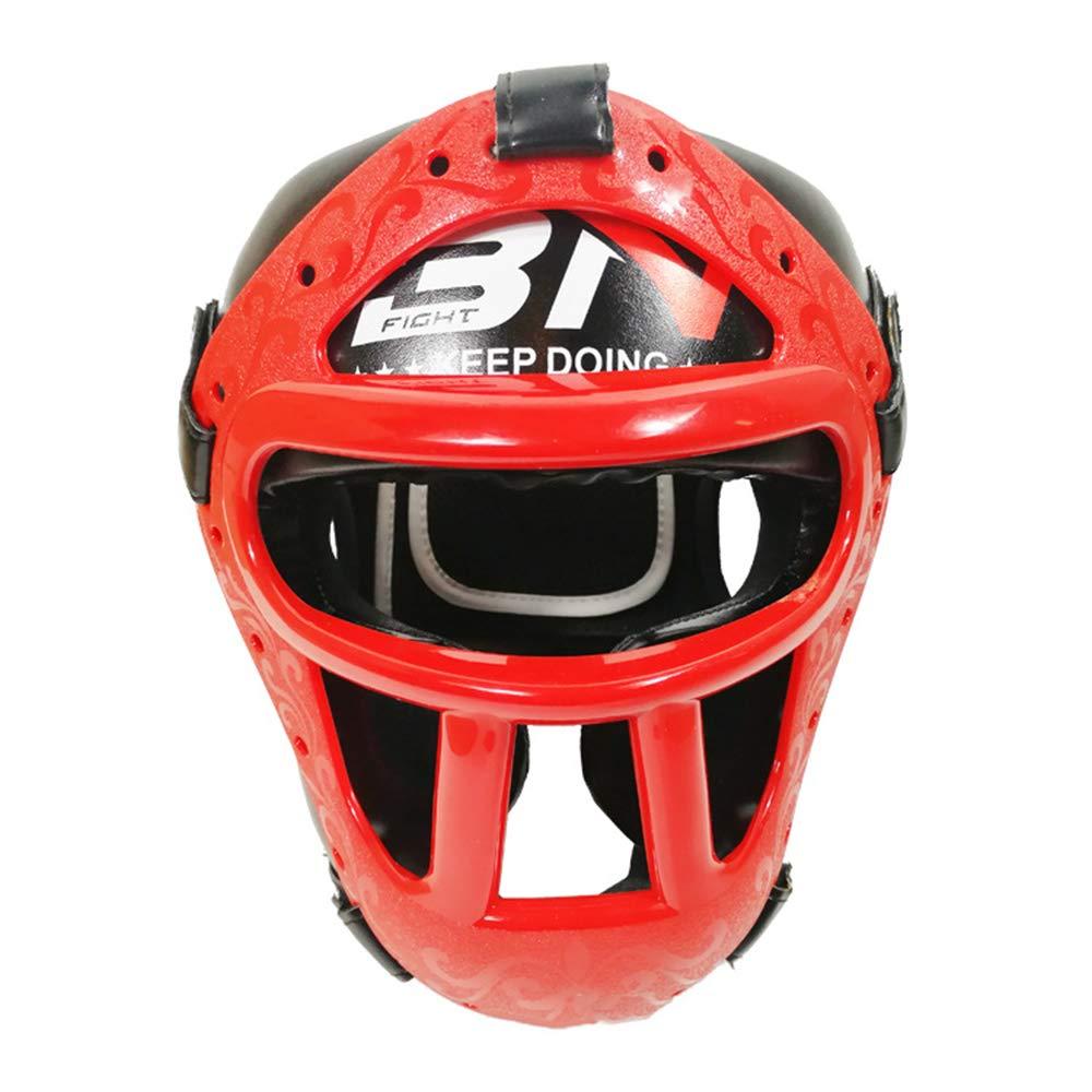プロのボクシングヘルメット、快適で アンチバーストマスクボクシングヘルメット、男性と女性の完全保護三田ヘッドプロテクター、ボクシング/三田/テコンドーに適して B07S87WGKY red Large