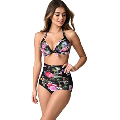 b32210318ef43 UBabamama Sexy Women Plus Size Bikini Set Print Hanging Neck Bandage Bow  Swimsuit Push-up