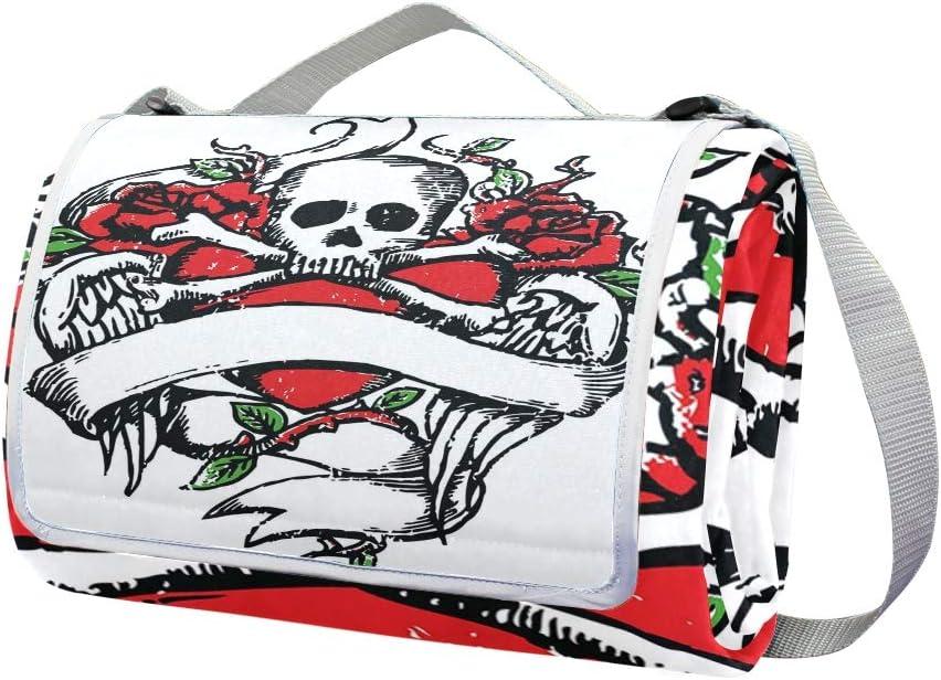 XINGAKA Coperta da Picnic Tappetino Campeggio,Abbozzato Modello Dipinto con Cani di Salsiccia Bicolore e Cuoricini,Giardino Spiaggia Impermeabile Anti Sabbia 4