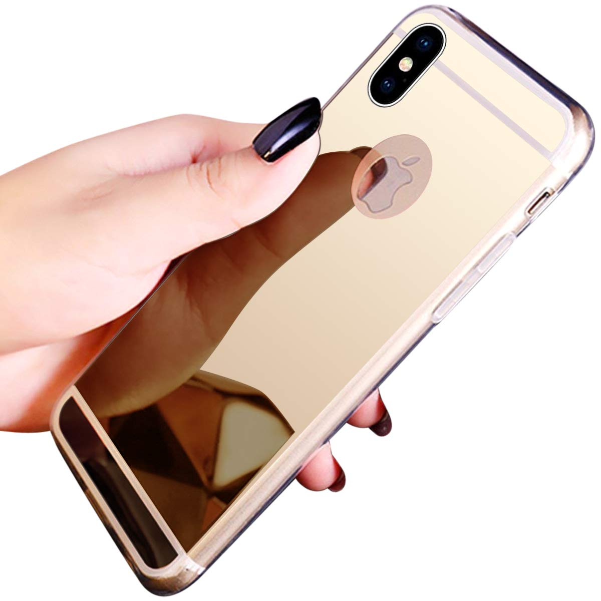 Surakey Mirror iPhone XR Case, Bright Reflection Radiant Mirror Bumper Protective Cover Hybrid Soft Grip Clear Back Panel Ultra-Thin Slim Thin Fit Shock Absorption Case for iPhone XR,Black SUR0002317