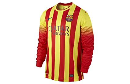 1352301bca31 Image Unavailable. Image not available for. Color  2013-14 Barcelona Away  Long Sleeve Nike Shirt