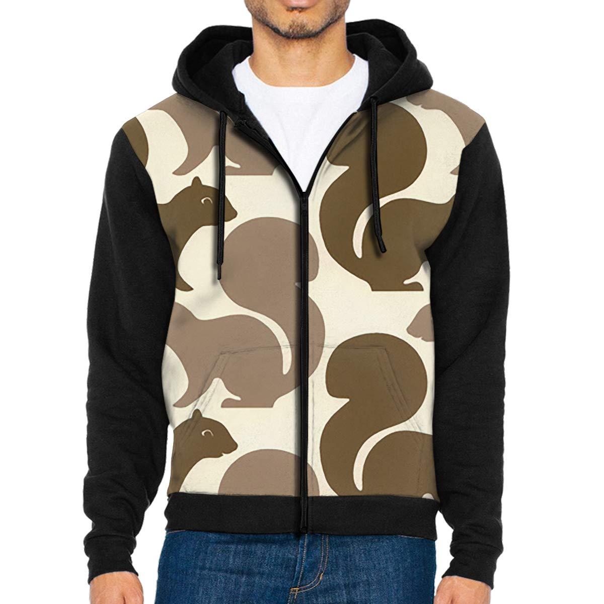 HEHE TAN Mens Pullover Hood Squirrel Zip Hoodies Hooded Classic Jackets Coats