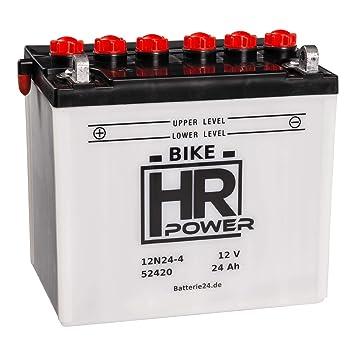 HR HiPower 52420 12N24-4 Batería para tractor cortacésped, 12 V ...