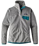 Patagonia Women's Re-Tool Snap-T Fleece Pullover (Large, Tailored grey- Nickel X-Dye w/ Elwha Blue)