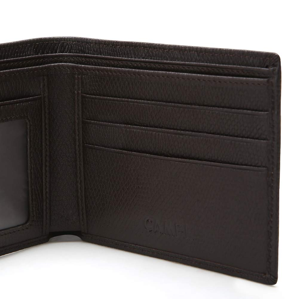 CAMEL CROWN Men\'s Wallet, Slim Fold Leather Wallet with Credit Card Slots and ID Pocket (Dark Brown)