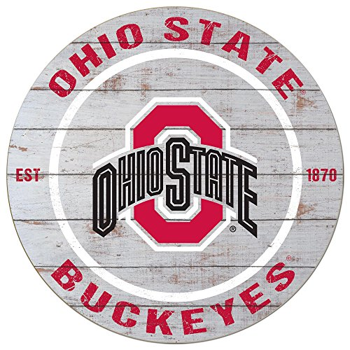 """KH Sports Fan 20""""x20"""" Ohio State Buckeyes Classic Weathered Circle Sign"""