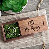 The Rings - Walnut Wood Ring Box with green moss, Small Ring Bearer Box, Wedding Photo Prop