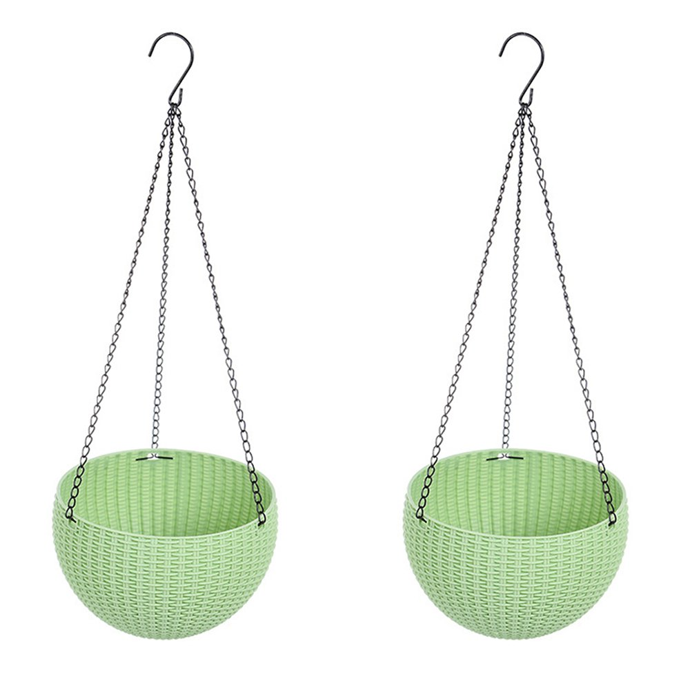 Yunhigh Hanging Planters for Indoor Outdoor Plants with Pot Self Watering Plant Pot Basket with Hook Decorative Round Plant Holder Garden Balcony Home Decor, Set of 2 – Green