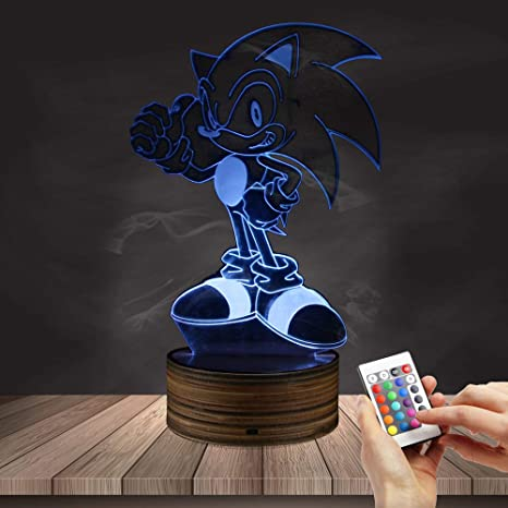 Sonic Christmas Hours.3d Optical Illusion Night Light Remote 16 Color Changing Table Desk Lamps Lights Fashion Creative Home Decoration Gifts Cartoon Lamp With Usb Power