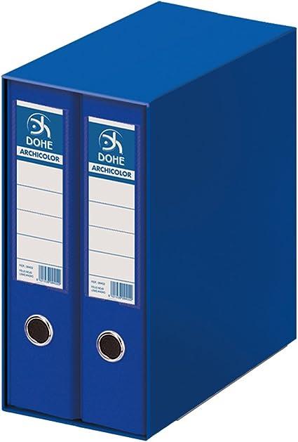 Dohe Archicolor - Módulo 2 archivadores folio lomo ancho, color azul: Amazon.es: Oficina y papelería