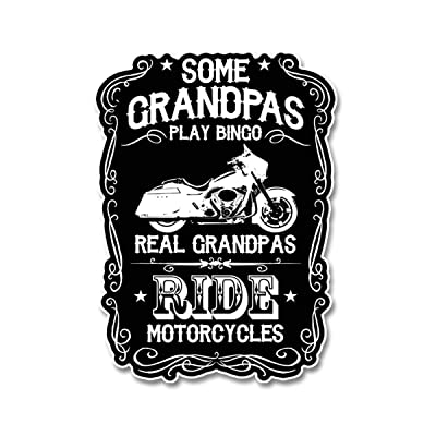 Skull Society Real Grandpas Ride Motorcycles 7 inch Decal for Cars, Trucks, Motorcycles, Boats & Laptops: Automotive