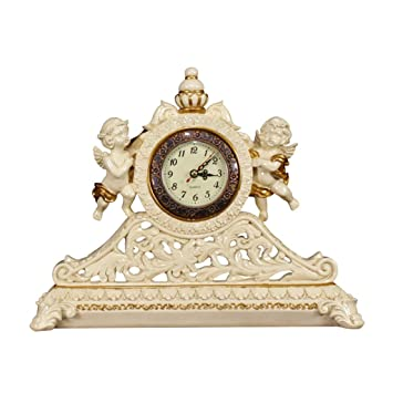 SESO UK- Reloj de Mesa Retro Europeo Exquisito Reloj de Mesa Relojes Decorativos con una Base Hueca para la Sala de Estar: Amazon.es: Hogar