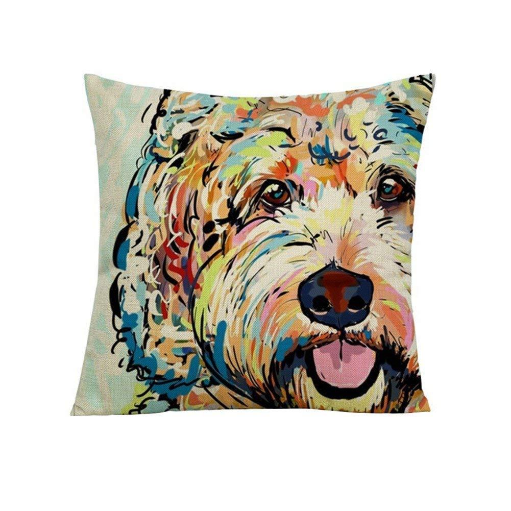 wintefei Cartoon Dog Waist Throw Cushion Cover Linen Pillow Case Home Sofa Decor?-4#