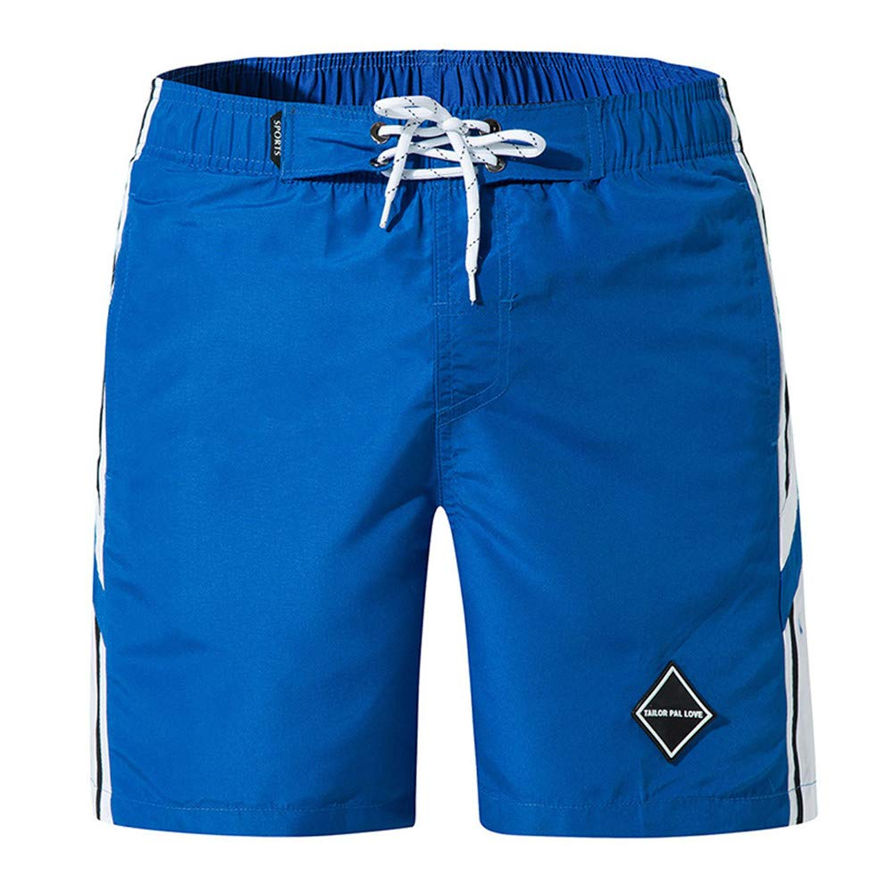 Vickyleb Swim Trunks Summer Beach Shorts Pockets Boardshorts for Men with Mesh Lining Blue