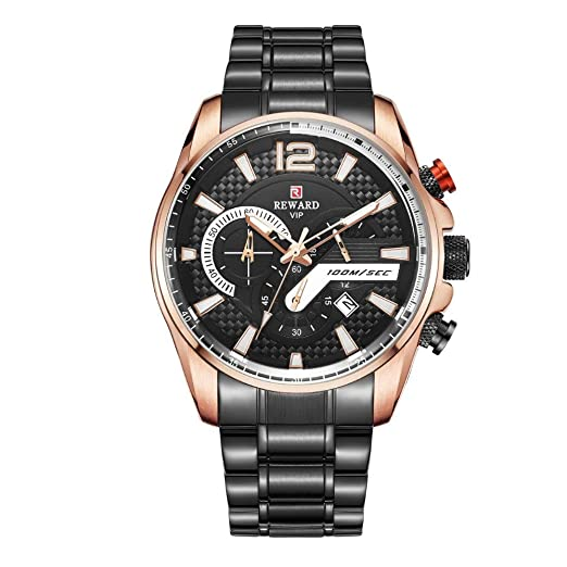 Relojes De Pulsera,Reloj De Moda Moda Cuarzo Trieye Sincronización Correa De Acero Multifuncional Ocio Cáscara De Rosa Cara Negra Cinturón Negro: Amazon.es: ...