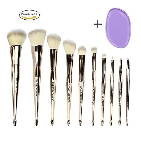 acfa541e2 COLOR CLEANER Brochas De Maquillaje Sirena, Set De Brochas Para Maquillaje  Sirenita, Pinceles Oro