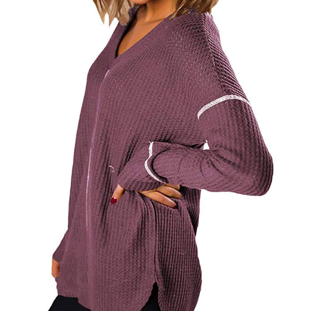 AOJIAN Blouse Women Long Sleeve T Shirt V-Neck Loose Sweatshirt Tees Sweater Shirts Tops Purple by AOJIAN (Image #3)