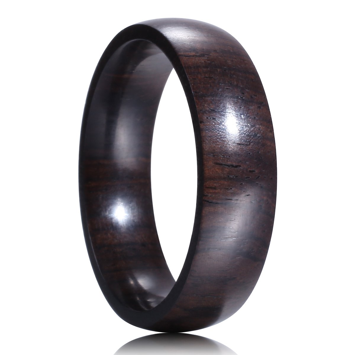 King Will 6mm African Blackwood Ring Mens Wedding Band Dome Style Black Wood Ring(8.5)