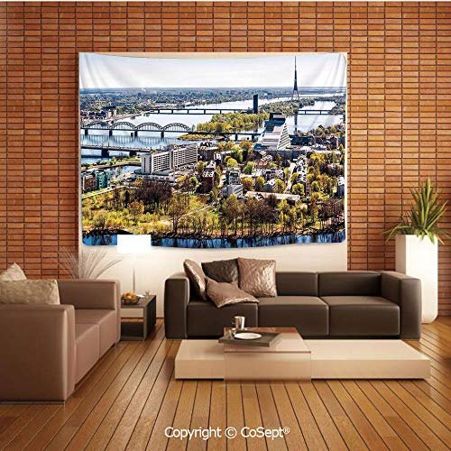 PUTIEN Polyester Fabric Tapestry,Aerial View of Riga City European Cultural Urban Mod Print Horizon with Old Tower Decorative,Tapestry Art Print Tapestry for RoomMulti