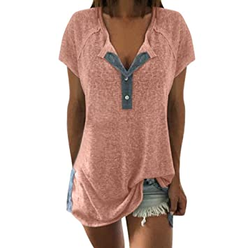 30bf09bba520b Image Unavailable. Image not available for. Color  KFSO Women Casual Short  Sleeve Button Plus Size Cotton Blouse Tops T Shirt ...