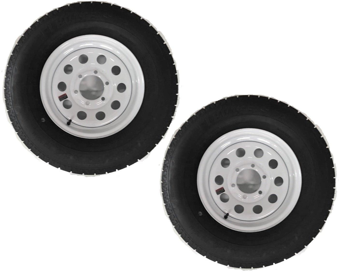 Two Radial Trailer Tires & Rims ST225/75R15 225/75-15 15'' D 6 Lug White Modular